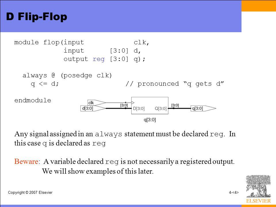 D Flip-Flop module flop(input clk, input [3:0] d, output reg [3:0] q); always @ (posedge clk)